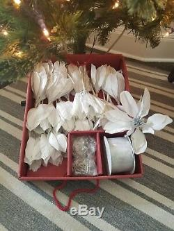 100 Piece Elegant Trim Kit Christmas Glass Ornaments And More Silver/White