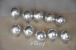 10 Pc Vintage Silver Original 1.5'' Small German Glass Kugel/Christmas Ornament