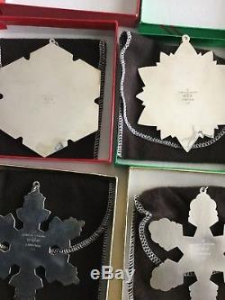 10 Vintage Gorham Sterling Silver Snowflake Christmas Ornaments 1990-1999