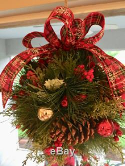 11 In Diameter Christmas Kissing Ball. Set of 2 Very Cute Candy Cane Ribbon Des