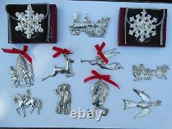 11 Vintage GORHAM Sterling Silver Christmas Ornament LOT Santa Elf Angel Snow