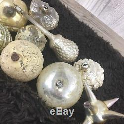 12 Antique German Glass Christmas Ornament Tree Lot Set Gold Silver 1920s Czech