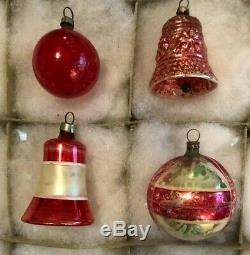 12 Antique German Rosy PINK RED Silver Blown Feather Tree XMAS ORNAMENT 1920-30