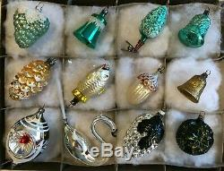 12 Antique German SILVER GOLD GREEN Blown Glass Figural XMAS ORNAMENT 1930-40s