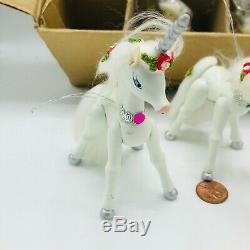 12 Vintage 1982 Kurt Adler Hand Painted Wood Unicorn Ornaments Silver Horn Pride