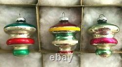 12 Vtg Shiny Brite UFO Tornado Space Ship Egg Xmas Ornaments Silvered Unsilvered