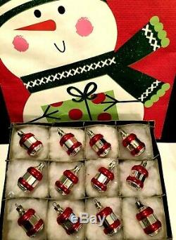 12 WWII Era Silver Lanterns Painted Red Rings Premier Glass Xmas Ornaments IOBox