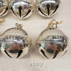 12 Wallace Silver plate Bell Ornaments from 1976 to 1992 SHINY! No Boxes
