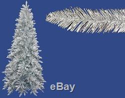 14' Pre-Lit Slim Silver Ashley Spruce Tinsel Christmas Tree Clear Lights