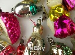 18 Vintage USSR Russian Silver Glass Christmas Tree Ornament New Year Decoration