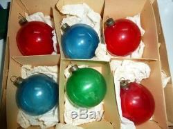 18 Vintage X-mas Tree Glass Ornaments Wwii Ww II Era Un-silvered Translucent