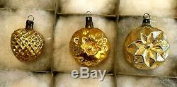 1920-30s Antique German PINK SILVER GOLD Blown Glass Figural XMAS ORNAMENTs 12