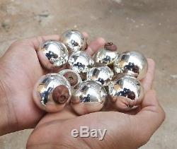 1920 Vintage Old Silver Glass Heavy 1.5 10 Pcs Christmas Kugel Ornament Germany