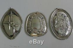 1970's Towle Sterling Silver 12 Days Of Christmas Set Of 3 Ornaments