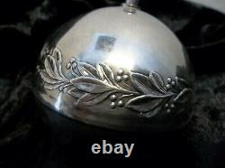 1971 Wallace Silver Plated Sleigh Bell Christmas Ornament holly 1st in Series