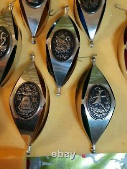 1972 Vintage 12 Days Of Christmas Sterling Silver Ornaments International Silver
