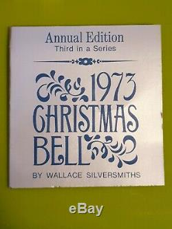 1973 3rd Wallace Silverplated Christmas Sleigh Bell Ornament Good Will To Men 3
