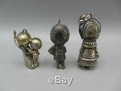 1974 Joan Walsh Anglund Sterling Silver Christmas Ornaments Boy Girl by Wolfpit