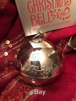 1976 Wallace 6th Annual Silver Plate Sleigh Bell Ornament Bicentennial Liberty