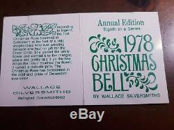1978 8th Wallace Silver Plated Christmas Sleigh Bell Christmas Rose Ornament 3