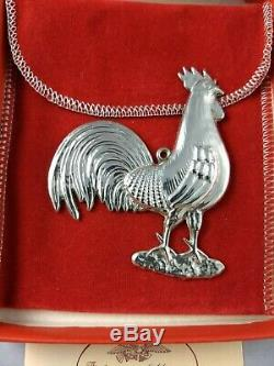 1981 American Heritage Rooster Sterling Silver Christmas Ornament NEW, withbox bag
