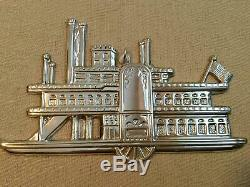 1985 Sterling Silver Gorham American Heritage Side Wheeler Ornament w Pouch A