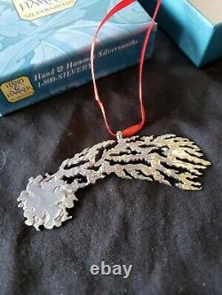 1986 Hand Hammer Sterling silver Christmas Ornament Haleys Comet