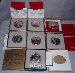 1988-1995 Towle Story Of Christmas Sterling Silver Ornaments Complete Set 8