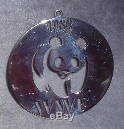 1988 World Wildlife Federation Solid Sterling Panda Christmas Ornament Medallion