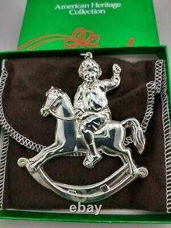 1990 American Heritage Sterling Rocking Horse Christmas Ornament New, Mint, Box