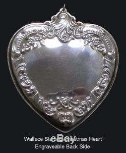 1992 Wallace Grande Baroque Heart Sterling Ornament 3.5 First Edition