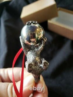 1993 Neiman Markus Sterling silver Christmas Ornament Cat With Christmas Ball