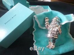 1993 tiffany sterling silver christmas ornament santa