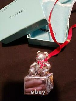 1994 Tiffany sterling Silver Christmas Ornament Teddy Bear On Block Extremely