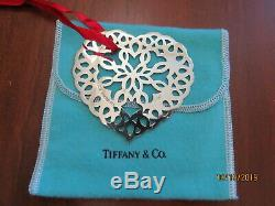 1997 Tiffany & Co Sterling Heart Christmas Ornament With Orig Pouch & Ribbon