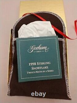 1998 Gorham Sterling Silver Christmas Snowflake Ornament New, Box, Bag, Brochure