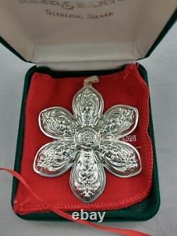 1998 Reed & Barton Snowflake Sterling Silver Christmas Ornament, New, Mint withbox