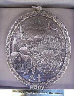 2001 Buccellati Sterling Silver Le Slitte Christmas Village Ornament Box & Coa