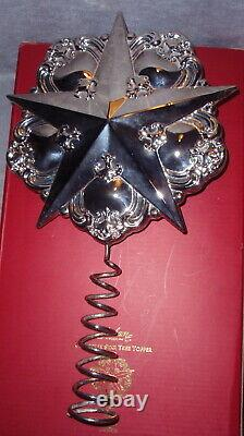 2001 Gorham Chantilly Silver Star Christmas Tree Top Topper Ornament Decoration