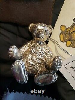 2001 Rebecca Dykstra Sterling Silver Christmas Ornament Large Teddy Bear rare