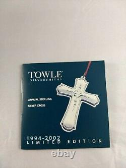 2002 Towle Sterling Christmas Cross Ornament 9th in series New, Mint, withbag, Box
