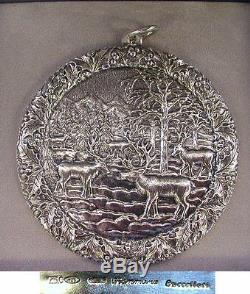 2005 Buccellati Sterling Silver Renne Reindeer Christmas Ornament Box & Coa
