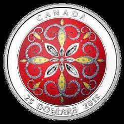 2015 $25 1 oz 99.99% Fine Silver Coin Christmas Ornament Ultra High Relief