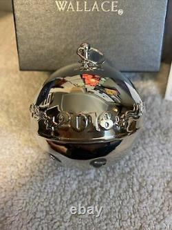 2016 WALLACE SILVER PLATE BELL SLEIGH BELL Christmas ORNAMENT