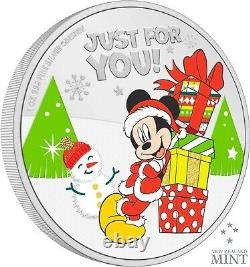 2021 Disney Mickey Mouse Seasons Greetings Christmas Ornament Silver Coin