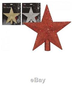 20cm Christmas Glitter Tree Top Star 3 Assorted colours