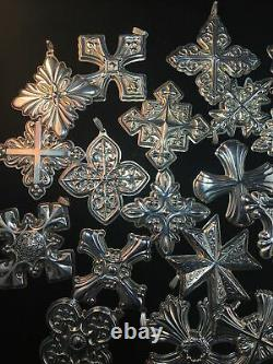 22 Piece Reed & Barton Sterling Silver Christmas Ornaments 1975-1996 Cross Set