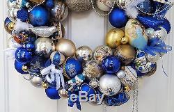 22 Vintage Glass Blue Christmas Ornament Wreath Silver Gold Birds Bows Elegant