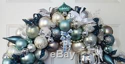 24 Glass Christmas Ornament Wreath Teal Silver White Elegant Vintage & Modern