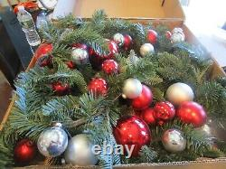 2 Pottery Barn outdoor red silver ornament garlands 5' Christmas photo shoot